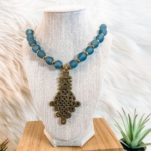 Gold Celtic and Blue Glass Bead Necklace